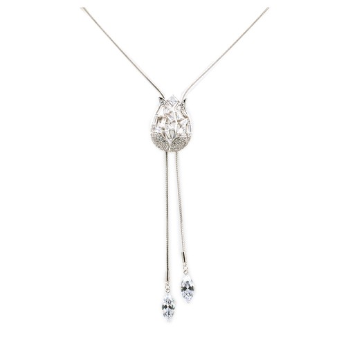 Rhodium Plated With CZ Cubic Zirconia Tulip Flower Lariat Necklace