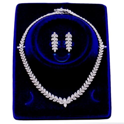Rhodium Plated Cubic Zirconia Bridal  Necklace Sets