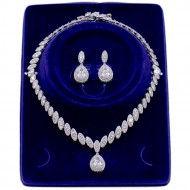 Rhodium Plated Cubic Zirconia Bridal Necklace Sets