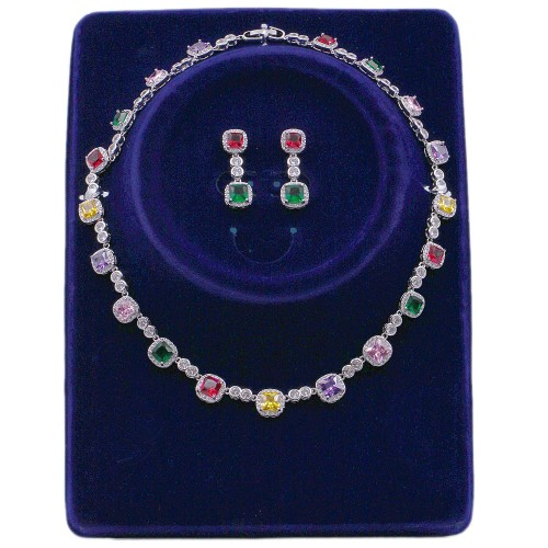 Rhodium Plated Multi Color CZ Bridal Necklace Sets