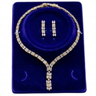 Gold Plated Cubic Zirconia Bridal Necklace Sets