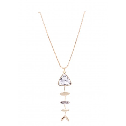 Gold Plated Fish Bone Pendant Necklace