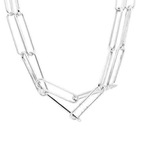 Rhodium Plated Double Layers Chain Necklace