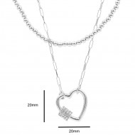 Rhodium Plated Double Layers Heart Necklace