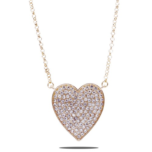 Gold Plated With Crystal Pave heart Pendant Necklace