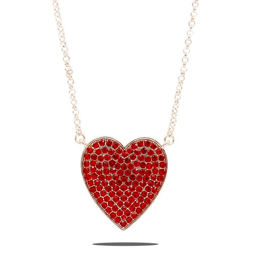 Gold Plated With Red Crystal Pave heart Pendant Necklace