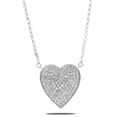 Rhodium Plated With Crystal Pave heart Pendant Necklace