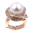 Rhodium Plated Rhinstone Paved with Pearl Stretch Ring