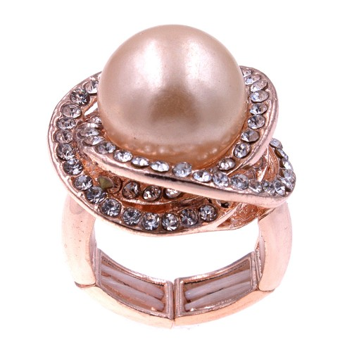 Rose Gold Plated Rhinstone Paved with Pearl Stretch Ring
