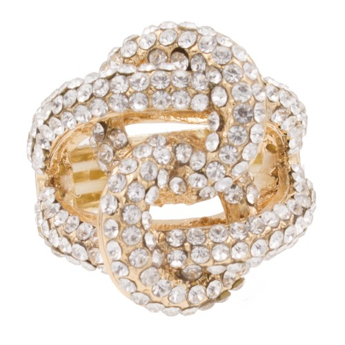 Gold Plated Crossed Hoops Crystal Fashion Stretch Ring