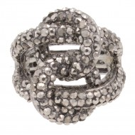 Hematie Crossed Hoops Crystal Fashion Stretch Ring