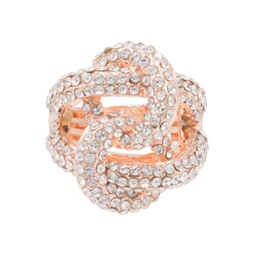 Rose Gold Plated Crossed Hoops Crystal Fashion Stretch Ring