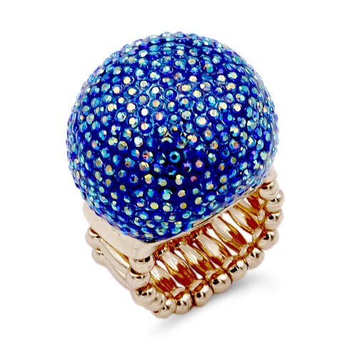 Gold Plated with Blue AB Crystal Snow Ball Stretch Ring