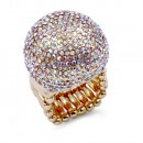 Gold Plated With AB Crystal Stretch Rings
