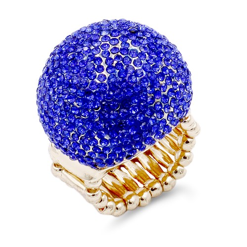 Gold Plated with Blue Crystal Snow Ball Stretch Ring