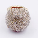 Gold Plated with Clear Crystal Snow Ball Stretch Ring