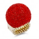 Gold Plated with Multi-Color Crystal Snow Ball Stretch Ring