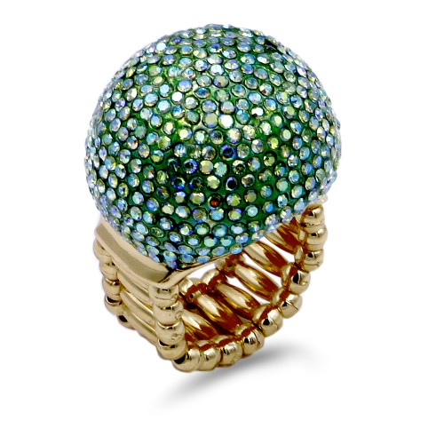 Gold Plated with Green AB Crystal Snow Ball Stretch Ring