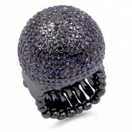 Hematite Crystal Snow Ball Stretch Ring