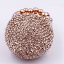 Rose Gold Plated with Peach Crystal Snow Ball Stretch Ring
