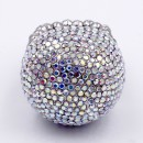 Rhodium Plated with Clear AB Crystal Snow Ball Stretch Ring
