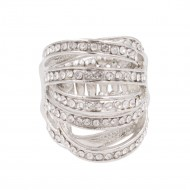 Rhodium Plated with Rhinstone Stretch Rings
