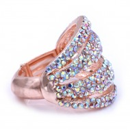 Rose Gold Plated With AB Crystal Stretch Rings