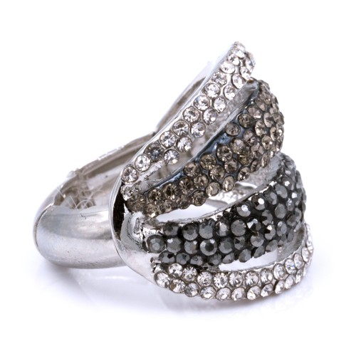 Rhodium Black Plated with Crystal Stretch Rings