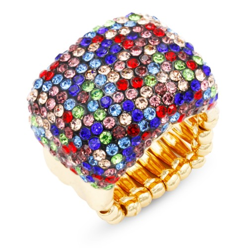 Gold Plated With Multi-Color Crystal Stretch Rings