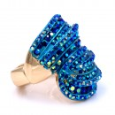 Gold Plated With Blue AB Crystal Stretch Rings