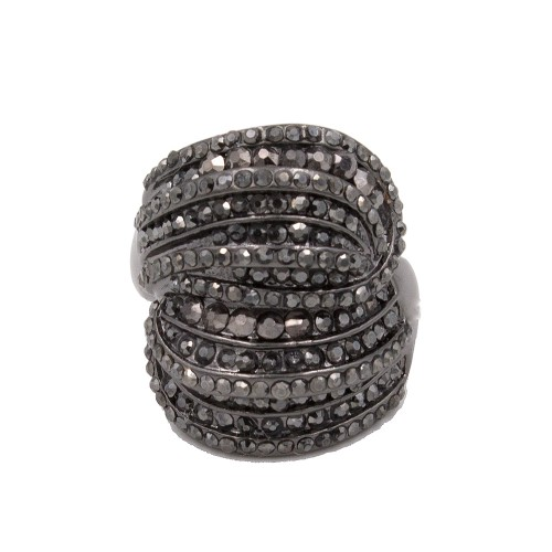 Black Rhodium Plated With Hematite Crystal Stretch Rings