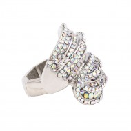 Rhodium Plated With AB Crystal Stretch Rings