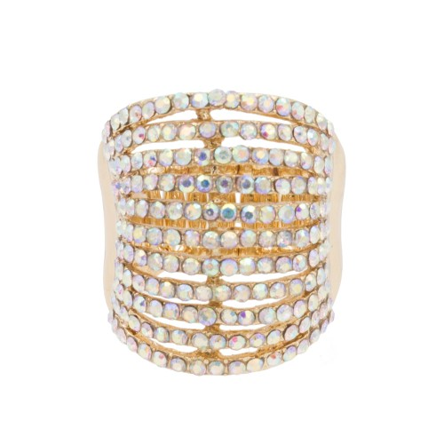 Gold Plated with AB Color 11 Line Crystal Stretch Riings