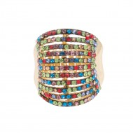 Gold Plated With Multi Color 11 Line Crystal Stretch Riings
