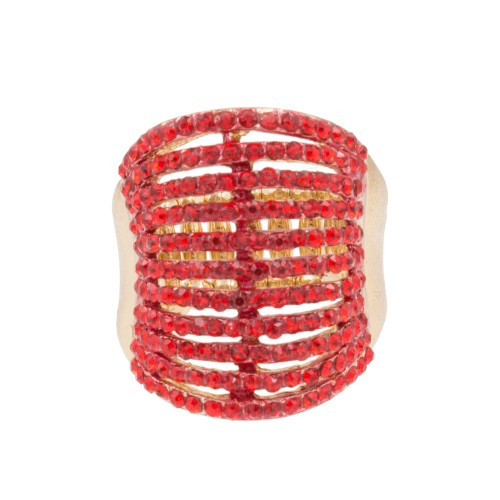 Gold Plated with 11 Line Red Ruby Crystal Stretch Rings