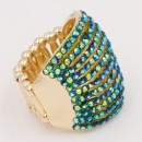 Gold Plated With Green AB Crystal 11 Row Stretch Rings