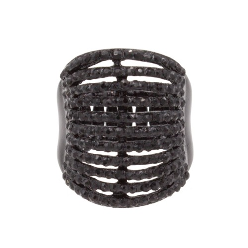 Jet Black with 11 Line Crystal Stretch Rings