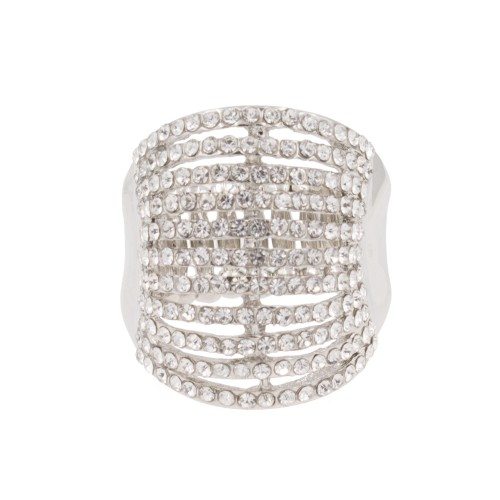 Rhodium Plated with 11 Line Crystal Stretch Rings