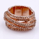 Peach Plated With Peach Crystal Stretch Rings