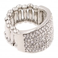 Rhodium Plated with Crystal Stretch Rings