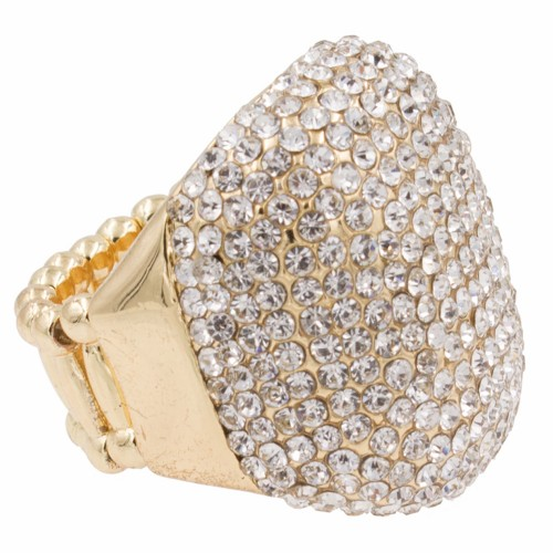 Gold Plated with Clear Rhinestone Stretch Ring