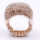 Rose Gold Plated with Peach Rhinestone Stretch Ring