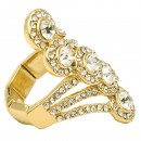 Gold Plated with Crystal Stretch Ring