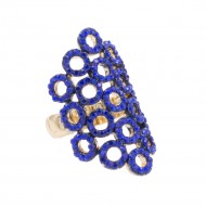 Gold Plated with Blue Crystal Stretch Rings