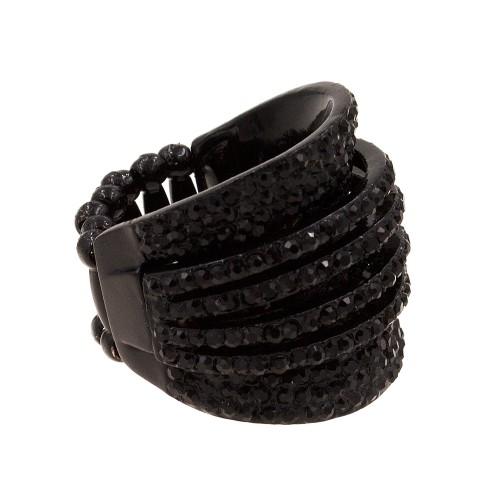 Jet Black Crystal Stretch ring