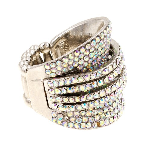 Rhodium Plated with AB Crystal Stretch ring