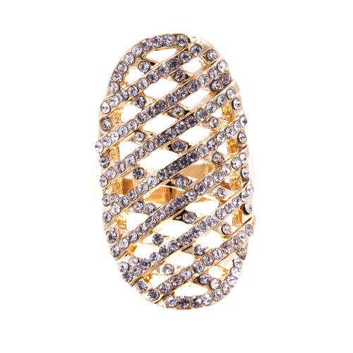 Gold Plated with Clear Rhinstone Hollow Stretch Ring