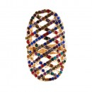 Gold Plated with Multi-Color Rhinstone Hollow Stretch Ring