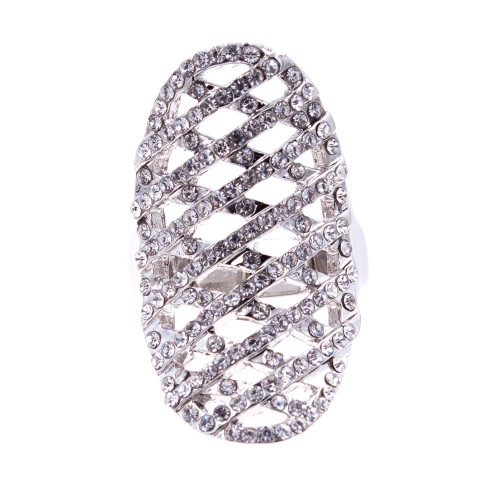 Rhodium Plated with Clear Rhinstone Hollow Stretch Ring