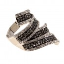 Rhodium Plated with Black Clear CZ Stretch Ring